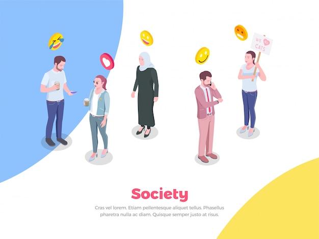 Sociedad isométrica con personajes de estilo doodle y emoticones de sonrisas emoji