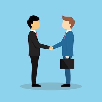 Sociedad de negocios agitar las manos ilustración