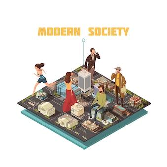 Sociedad urbana moderna con personas que tienen diferentes ocupaciones ilustración vectorial isométrica