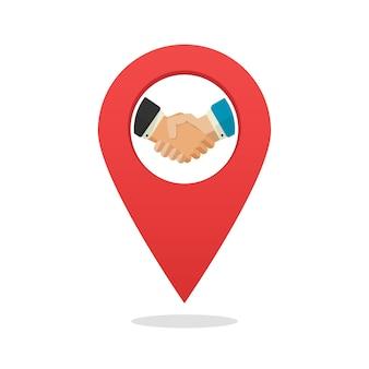 Socio o asociación oficina posición ubicación icono marcador de dibujos animados plana
