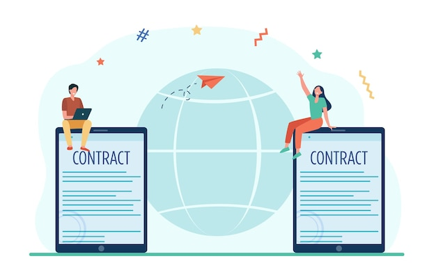 Socios comerciales que firman contrato en línea