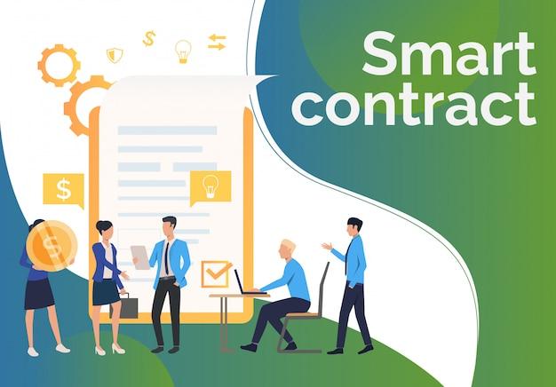Socios comerciales que trabajan y concluyen contrato.