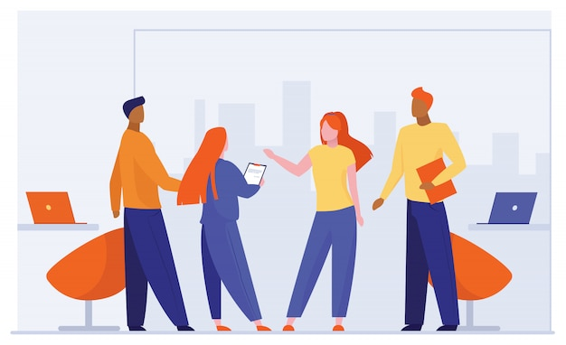 Socios comerciales reunidos en la oficina