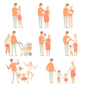 Socios familiares. relación padres felices madre padre amor y felicidad pueblos vector ilustraciones de dibujos animados. familia con bebé, madre padre hijos