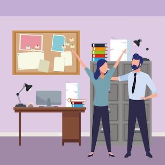 Socios de negocios exitoso avatar sin rostro de dibujos animados