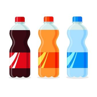 Soda en botellas de plástico o vidrio. bebidas carbonatadas sin alcohol de diferentes sabores.