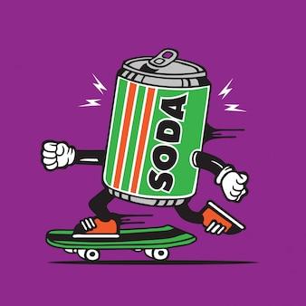 Soda can drink skater skateboard diseño de personajes