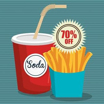 Soda con frnch fries diseño de icono aislado