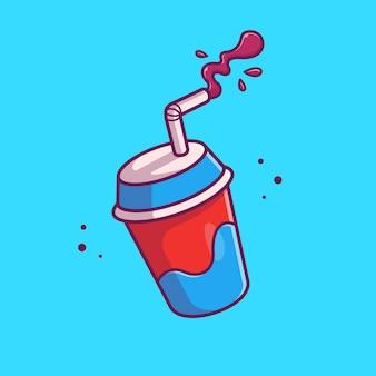 Soda con la ilustración del icono de paja. concepto de icono de cine de película aislado. estilo plano de dibujos animados