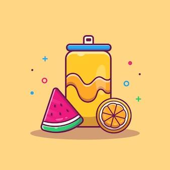Soda de naranja con melón de agua ilustración de frutas. comida y bebida de verano. concepto de vacaciones aislado