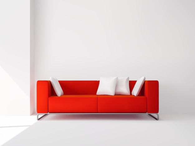 Sofá cuadrado rojo realista en las patas de metal