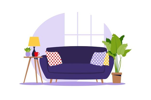 Sofá moderno con mini mesa. interior del salón con muebles. estilo de dibujos animados plana. ilustración vectorial.
