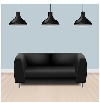 Sofá negro con lámparas