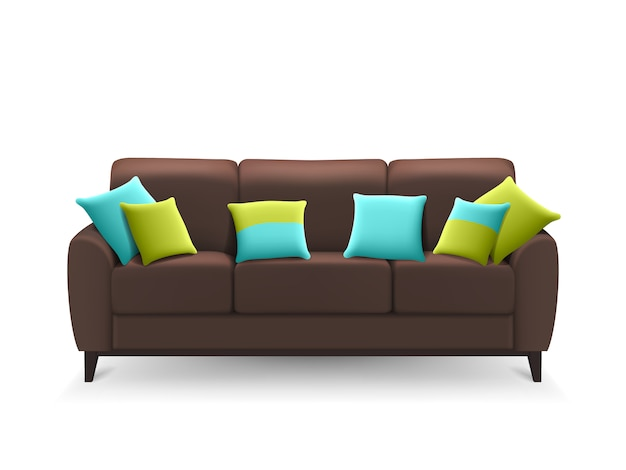 Sofá realista marrón con cojines decorativos