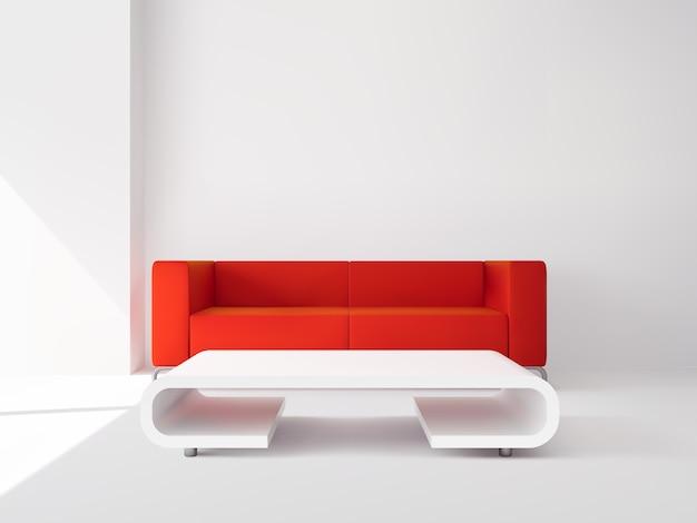 Sofá rojo y mesa blanca interior.