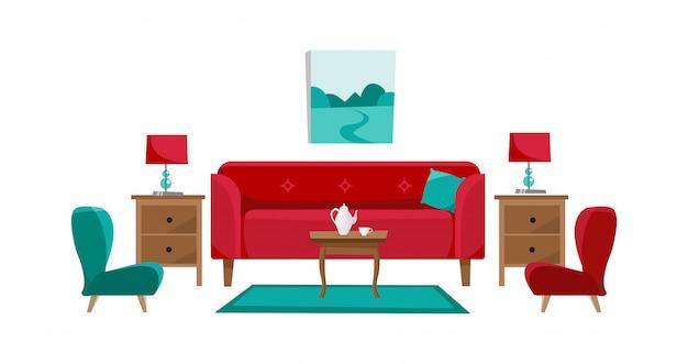Sofá rojo con mesa de café en la sala de estar.