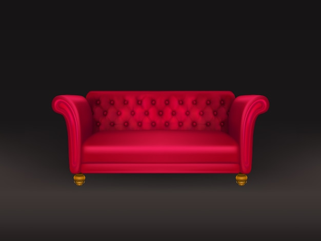 Sofá rojo, sofá aislado en negro