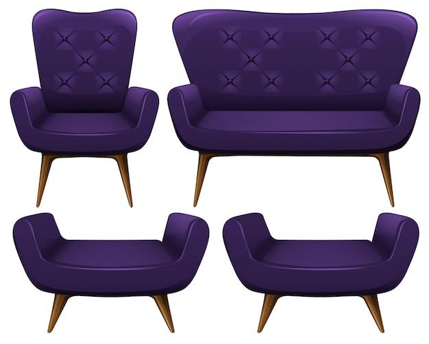 Sofá y sillas en la ilustración púrpura