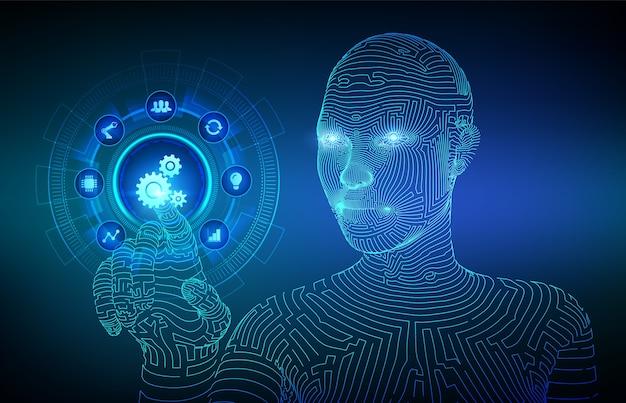 Software de automatización. concepto iot y automatización. interfaz digital conmovedora de la mano del cyborg con estructura metálica.