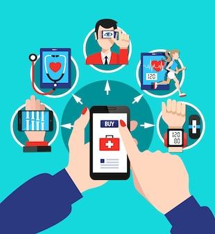 Software de herramientas de dispositivos de atención médica digital con el dedo índice que elige las opciones del menú de la pantalla del teléfono inteligente
