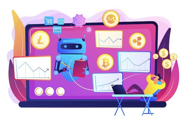Software de minería de criptomonedas, inteligencia artificial para e business. bot de comercio de criptomonedas, operaciones de inteligencia artificial automatizadas, el mejor concepto de bot de comercio de bitcoin.