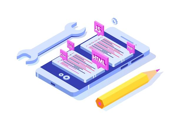 Software de programación o concepto isométrico de desarrollo de aplicaciones, procesamiento de big data. ilustración