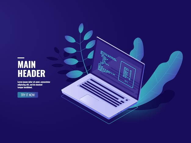 Software de programación, oficina de trabajo, computadora portátil con planta de interior, sitio web de desarrollo web