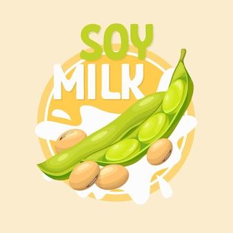 Soja en estilo de dibujos animados, etiqueta de leche de soja