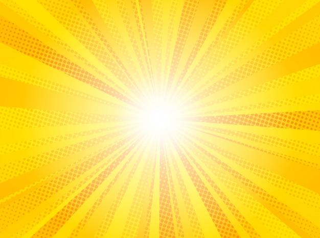 El sol amarillo cómico irradia arte pop del fondo