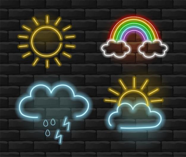 Sol, arco iris y lluvia luz de neón, establecer fondo de verano, fondo de ladrillo