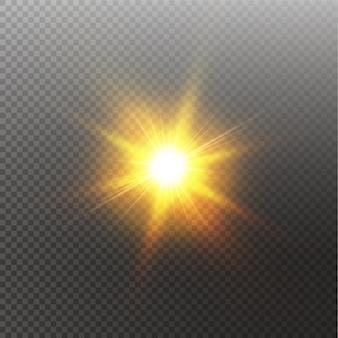 Sol brillante brillante aislado. efecto de luz brillante.