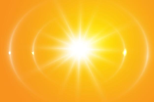 Sol cálido sobre un fondo amarillo. rayos solares leto.bliki