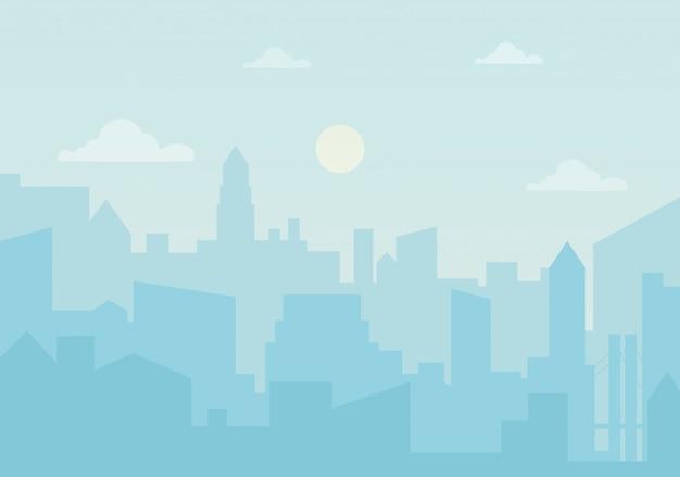 Sol día ozono en la ciudad.