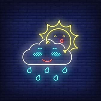 Sol de dibujos animados escondido detrás de neón nube signo