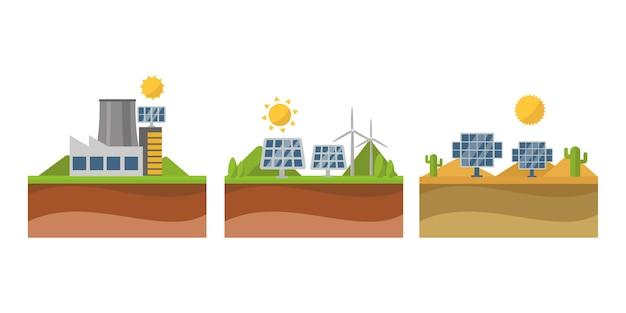 Sol energía solar energía electricidad tecnología vector.