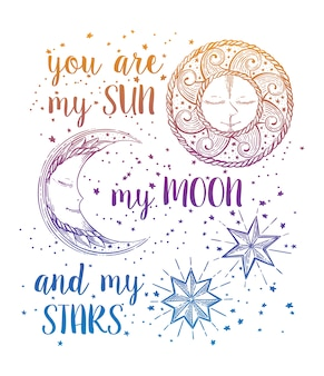 Sol, luna y estrellas