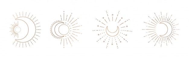 Sol y luna línea arte clipart. contorno sol