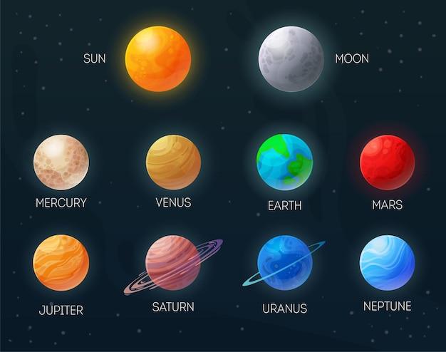 Sol, luna, mercurio, venus, tierra, marte, júpiter, saturno, urano, neptun, colorido, planetas, conjunto