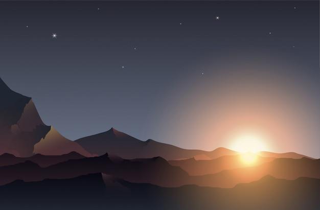 El sol de la mañana vibra en la montaña