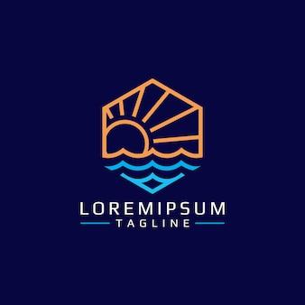 Sol y mar abstracto monoline vector emblema