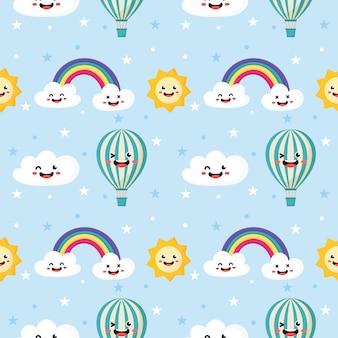 Sol de patrones sin fisuras, globo, arco iris y nubes.