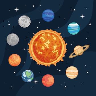 El sol y los planetas espaciales alrededor del espacio.