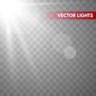 Sol con rayos y vigas. efecto de luz cálida de vector