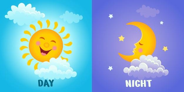Sol sonriente con nubes y un mes dormido con estrellas