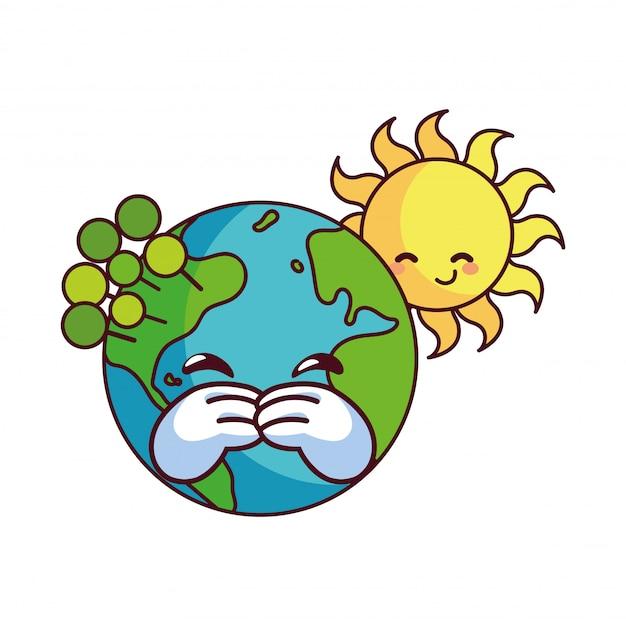 Sol y tierra felices acompañados