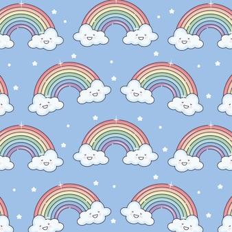 Sol de verano lindo y nubes con patrón de arco iris kawaii