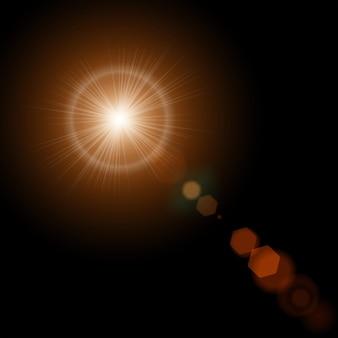 Sol de verano con luces de destello de lente realistas y brillo en negro