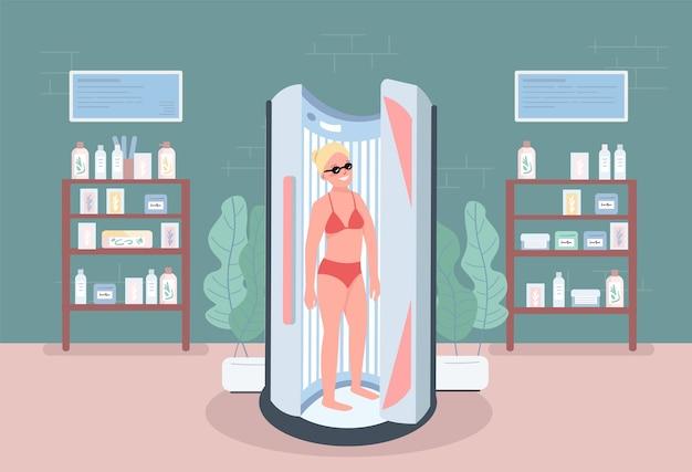 Solarium color plano. levántese hamaca. equipo de salón de spa para procedimientos. mujer con bronceado interior en centro de belleza personaje de dibujos animados 2d con muebles en el fondo