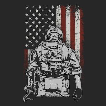 Soldado americano en el campo de batalla ilustración vectorial