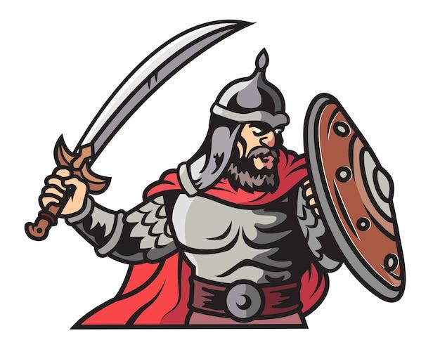 Soldado árabe atacando con gran espada y escudo de dibujos animados